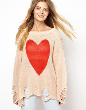 Wildfox White Label Big Heart Jumper