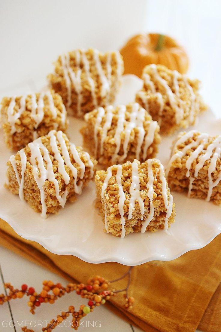 Pumpkin Spice Rice Krispie Treats http://www.thecomfortofcooking.com/2013/09/pumpkin-spice-rice-krispie-treats.html