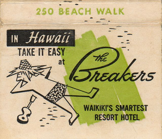 Old match cover from The Breakers Hotel, Waikiki