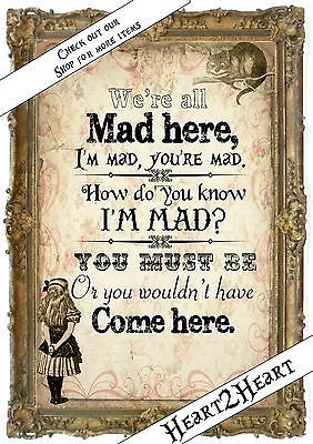 1 Vintage Alice in Wonderland We're All Mad Here Print Gifts,Home,Party in Home, Furniture & DIY, Home Decor, Wall Hangings | eBay