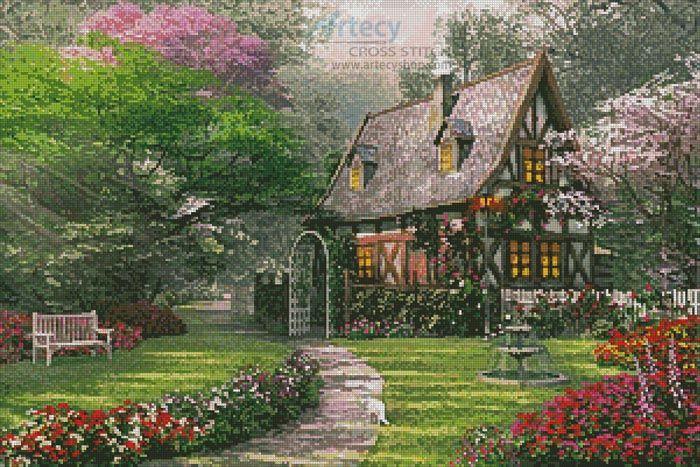 Artecy Cross Stitch. The Misty Lane Cottage Cross Stitch Pattern to print online.
