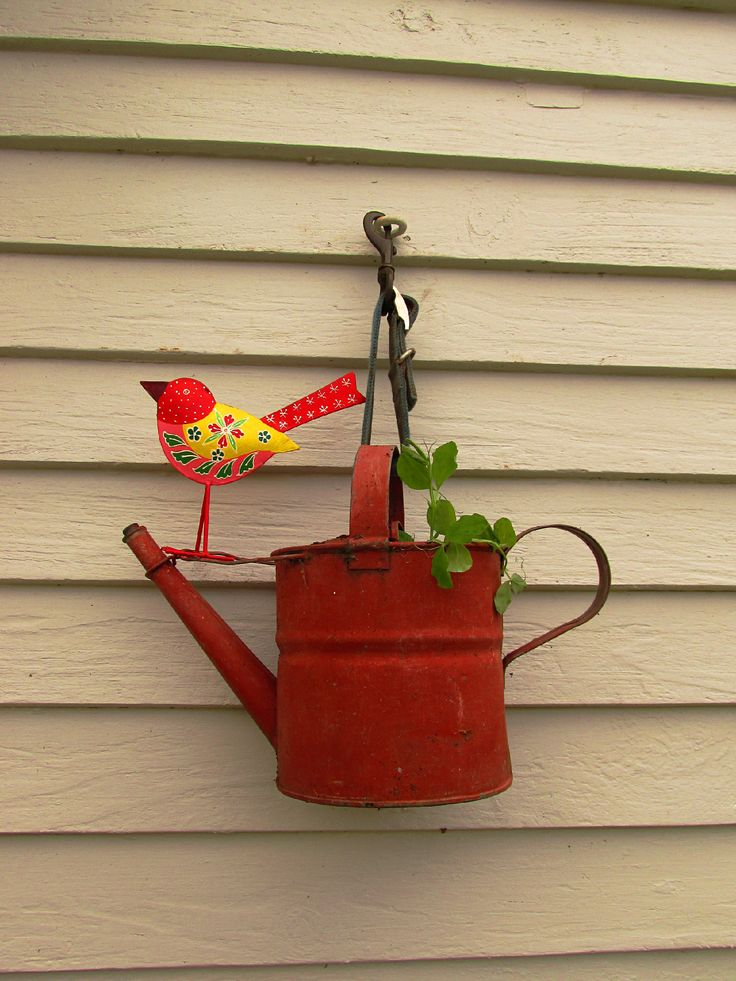 I used my dear late Labrador Otis's collar to hang this old watering can.