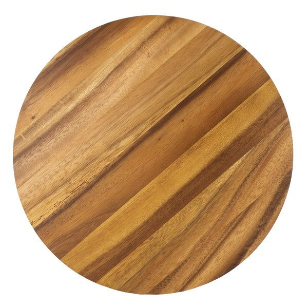 Carve it up. This Gourmet Wood Circle Cutting Board is made of beautiful acacia hardwood. Known for its rich, dark colors and beautiful, contrasting patterns. One of the special characteristics of acacia wood is an unusual property known as 'chatoyancy' appearing to change color and luster in different lighting conditions as if to shimmer. It was designed with versatility in mind. It's light enough to use as a serving board and durable enough to use as a cutting board or trivet, m...