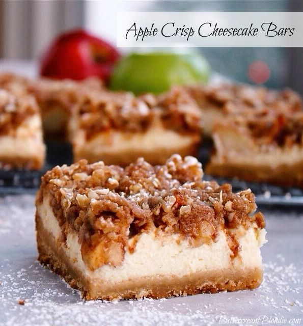 Apple Crisp Cheesecake Bars - brown sugar shortbread, vanilla bean cheesecake, and cinnamon apples all tucked under a blanket of crisp topping! | ButtercreamBlondie.com #appledesserts