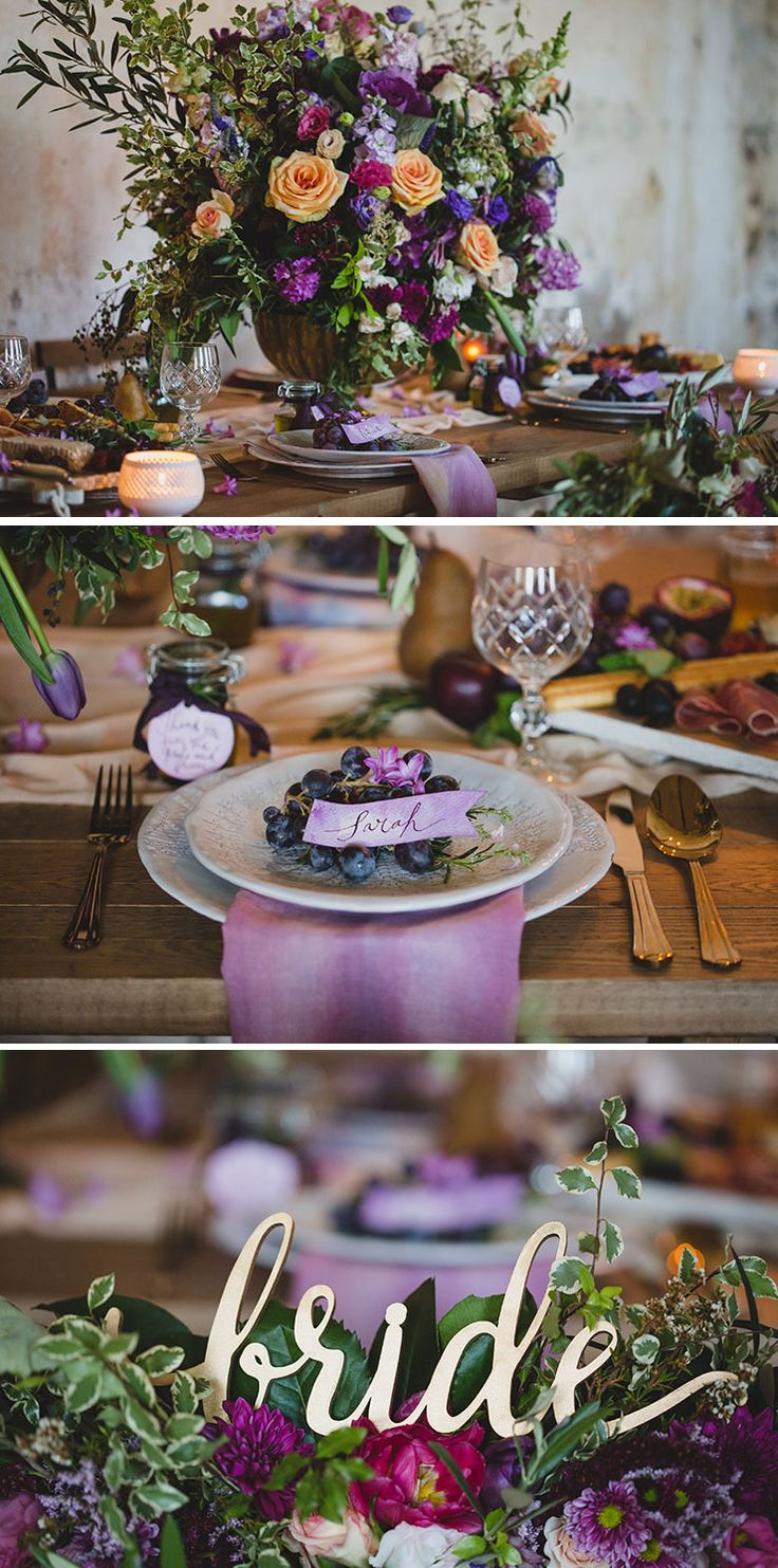 Purple wedding reception decor inspired by Tuscany   Just For Love Photography   See more: http://theweddingplaybook.com/tuscan-plum-wedding-inspiration/