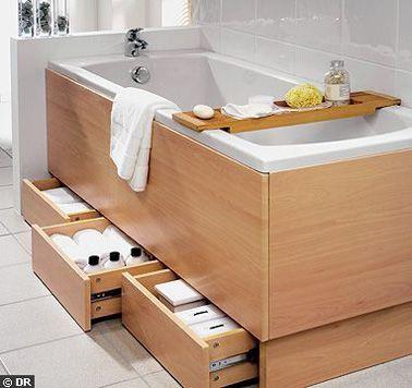 Quand on est à court d'espace de rangement dans la petite salle de bain, on se doit d'exploiter toute la surface, et le dessous de la baignoire en fait parti ! Voilà une idée judicieuse pour ranger  vos affaires de toilettes qui encombrent la salle de bain. Plusieurs petits tiroirs glissés sous l'habillage en bois de la baignoire vous permettent de garder hors de vue vos produits, pour ne pas gâcher la déco de la salle de bain. Une solution rangement très maligne.