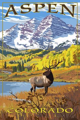 Aspen, Colorado - Mountains & Elk - Lantern Press Poster....réépinglé par Maurie Daboux .•*`*•. ❥