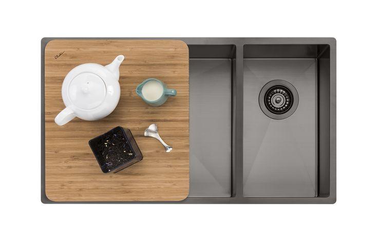 Oliveri Spectra 1 & 1/2 bowl gunmetal sink
