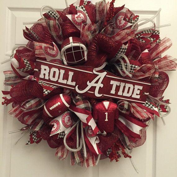 26 Alabama Wreath Roll Tide Crimson Tide  Bama by DerekasDesigns