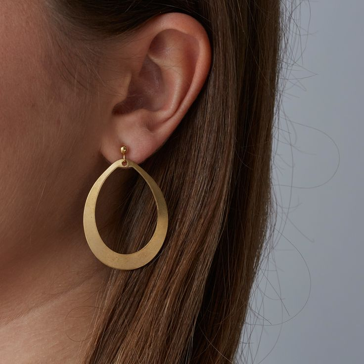 Cassini earrings. Raw brass ovals on gold, nickel-free ear posts. £12