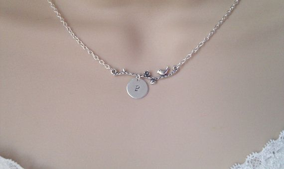 Birds Branch Initial Necklace Silver Bird by LittleEnglishJewelry