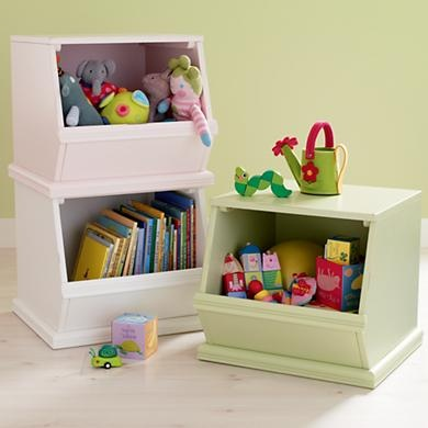 Kids' Toy Boxes: Kids Single Wooden Stacking Storage Bin in Toy Boxes