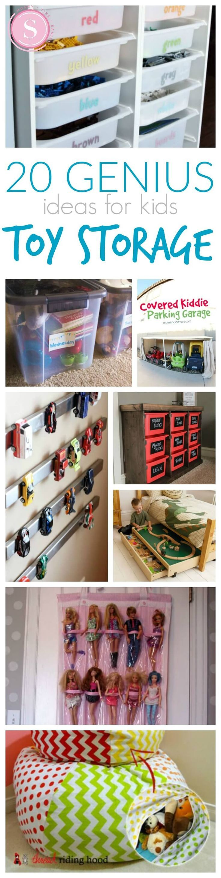 20 Genius Ideas for Organizing Your Kid's Rooms! Great tips and tricks for Spring Cleaning!