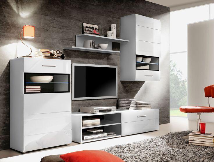 Wohnwand weiß hochglanz mit holz  Die 25+ besten Wohnwand schwarz hochglanz Ideen auf Pinterest | Tv ...