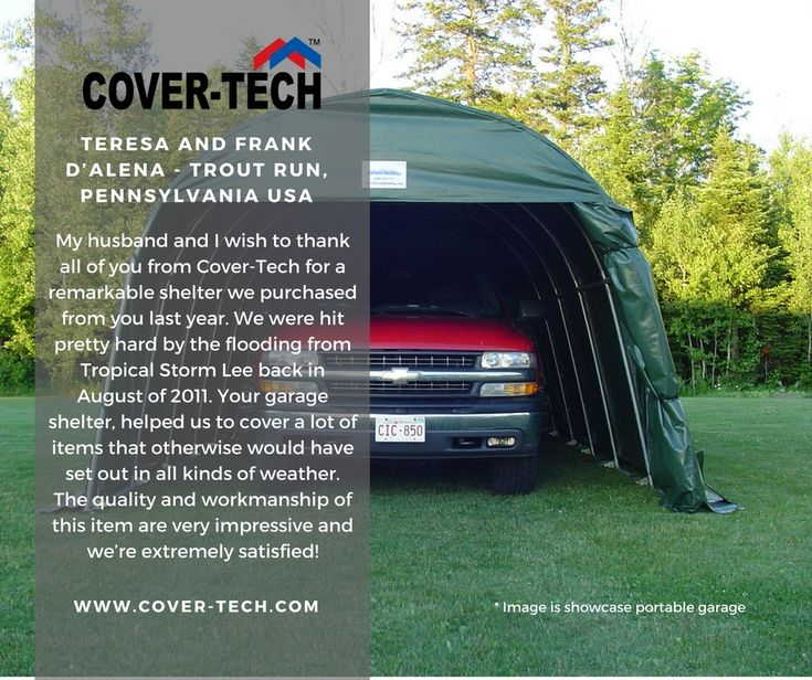 Teresa & Frank D'Alena from Pennsylvania USA said.... We thank you for your kind words! Read more testimonials here: http://www.cover-tech.com/testimonials #picoftheday #portablegarage #shelter #product #highquality #testimonial #madeincanada #rvgarage #boatgarage #cargarage #testimonials #tbt