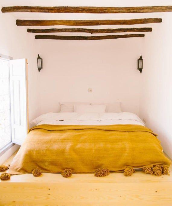 Moroccan Blanket Moroccan Pompom Blanket Bedroom Blanket Moroccan Throw Blanket Pompom Bed Cover Mustard Yellow Yellow Throw Blanket Bed Moroccan Bedroom