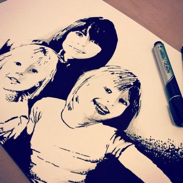 portret ze zdjęcia na zamówienie rysunek A3  w HOMEart na DaWanda.com