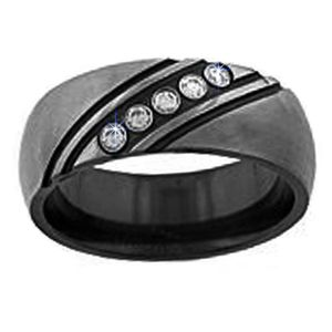 Mens Black Wedding Bands With Diamonds | Weddings Rings Store