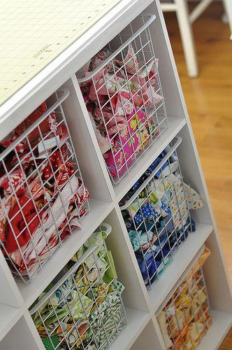 Organizing scraps: Fabrics Storage, Work Stations, Crafts Rooms, Color, Fabrics Scrap, Wire Baskets, Sewing Rooms, Scrap Fabrics, Storage Ideas