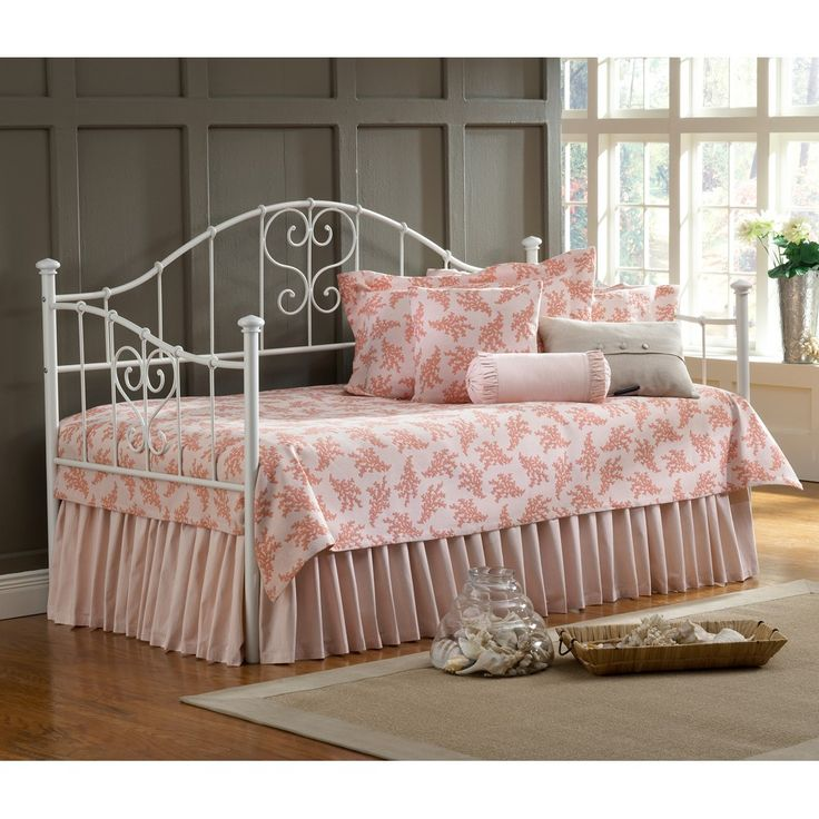 Amazing Metal Daybed With Trundle And Pink Cushions