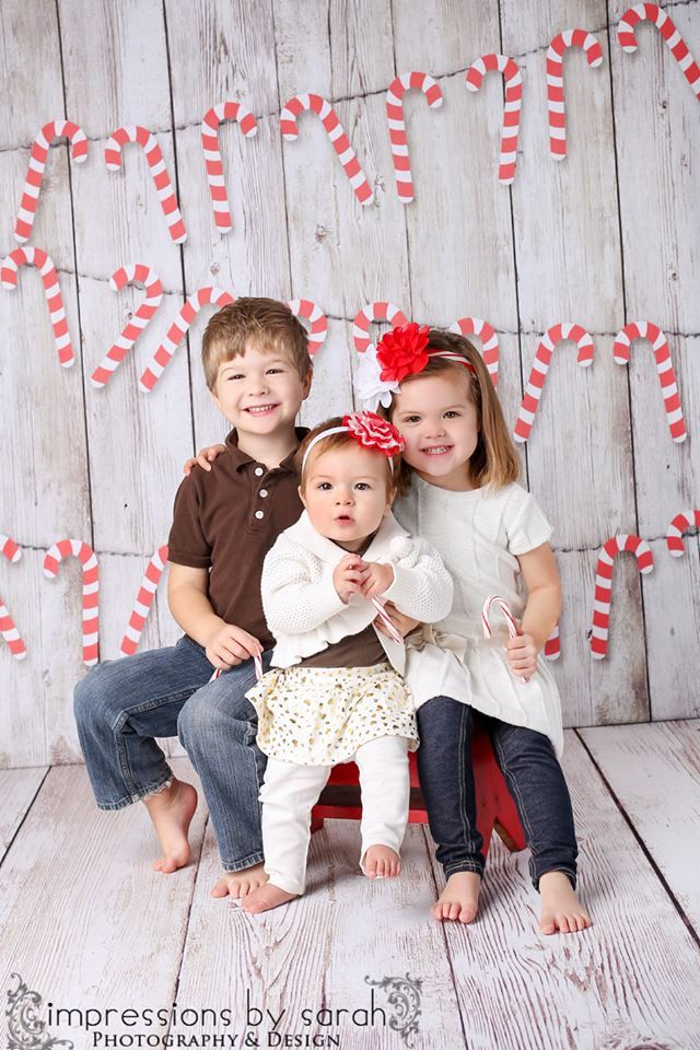 Christmas Mini Children background with candy canes