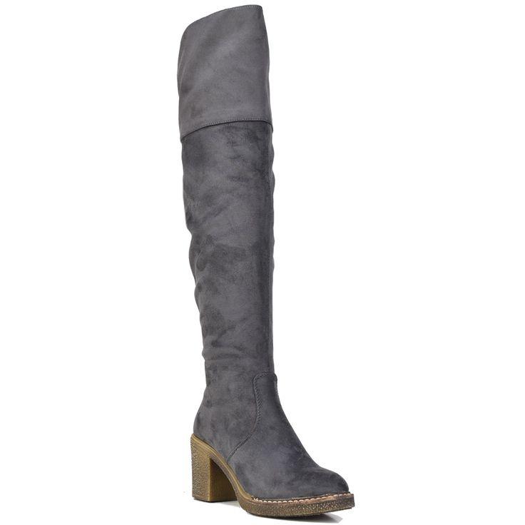 Grey over the knee boot Lets Walk JN77-16