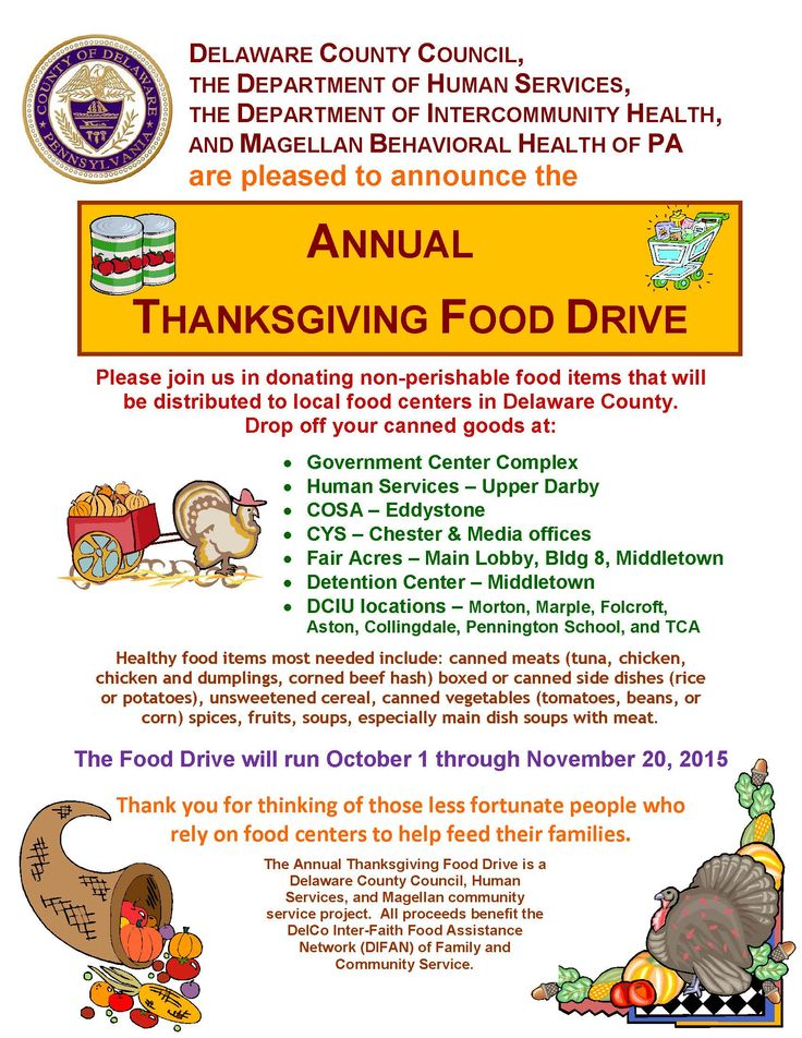 DelCo Thanksgiving Food Drive Flyer, its not too late to