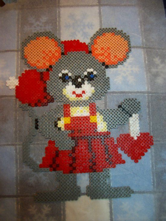 Christmas Mouse hama perler beads by Nath Hour