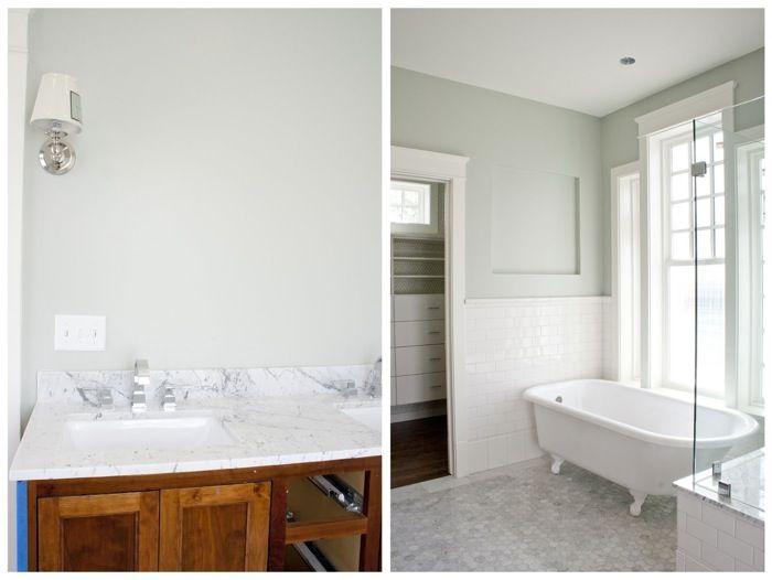 Bath: Subway tile with hexagon marble flooring, nice wall color