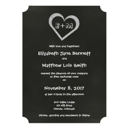 Bilingual Chalkboard Heart Wedding Invitation