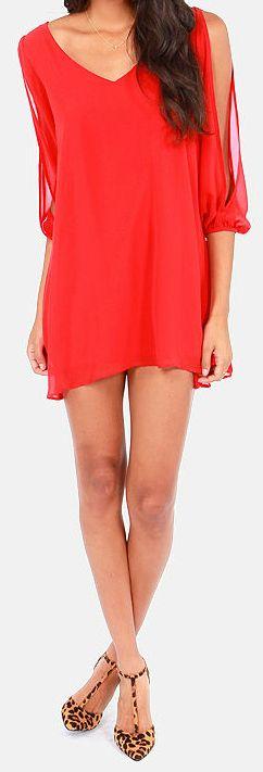Shifting Dears Red Long Sleeve Dress via lulus.com