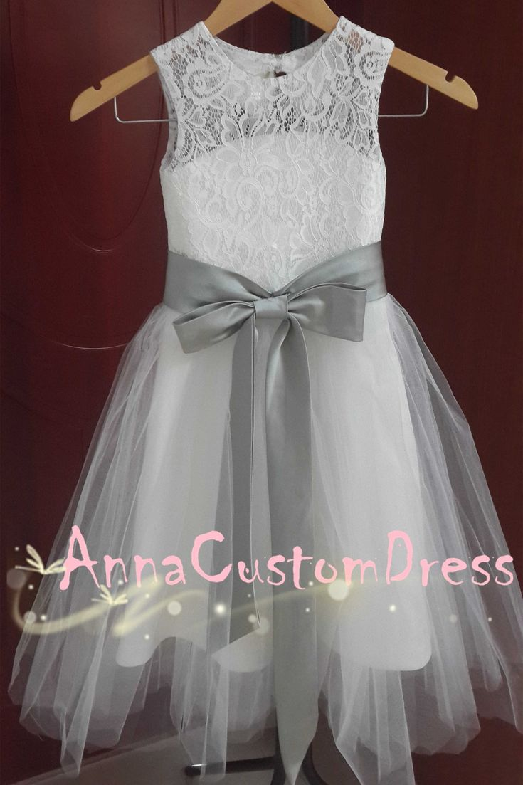 Ankle-length Ivory Lace Tulle Flower Girl Dress with Silver Sash