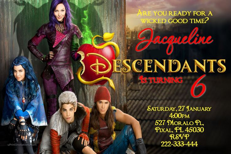 Descendants Birthday Invitations - Get these invitations RIGHT NOW. Design yourself online, download JPG and print IMMEDIATELY! Or choose my printing services. No software download is required. Free to try!