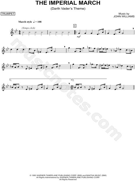 """The Imperial March - Trumpet"" from 'Star Wars: The Empire Strikes Back' Sheet Music (Trumpet Solo) - Download & Print"