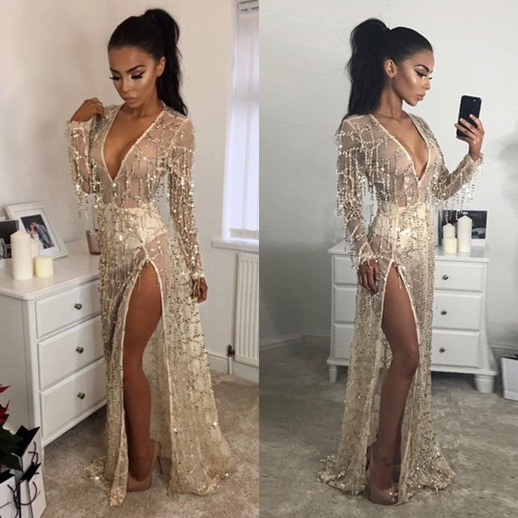 2017 Champagne Prom Evening Party Long Maxi Dress Sequins Crystal Celebrity Gown