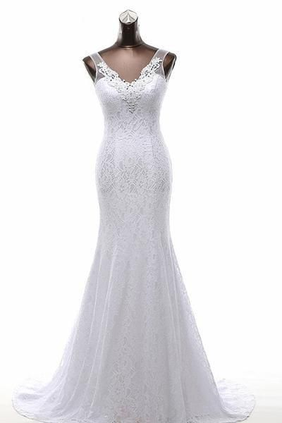 Mermaid V-neck Sweep Train Lace Wedding Dress with Beading,Cheap Evening Dress On sale,