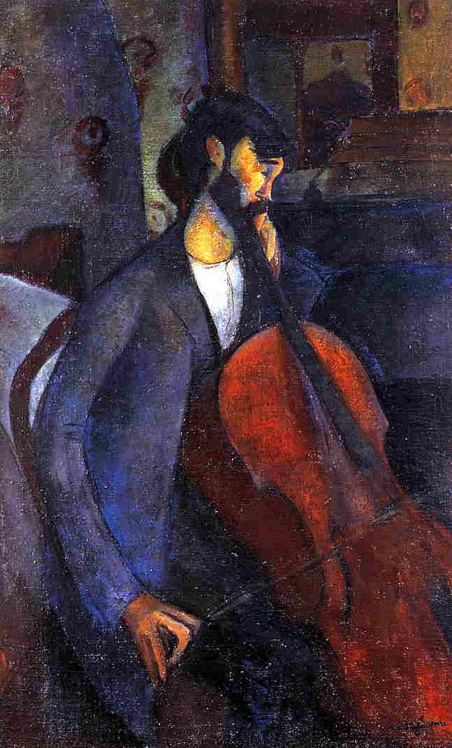 'The Cellist' (1909) by Amedeo Modigliani  Completion Date: 1909  Place of Creation: Paris, France  Style:Expressionism   Genre:portrait   Technique:oil   Material: canvas   Dimensions: 130 x 80 cm  Gallery: Private Collection