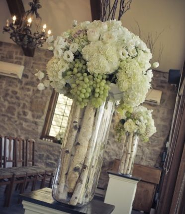 birch centerpieces.  I could use my mercury glass candle bases also with this arrangement of flowers