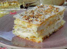 Millefoglie con crema di ricotta e mascarpone, dessert fine pasto ricetta facile e veloce, con pasta sfoglia già pronta. Senza panna