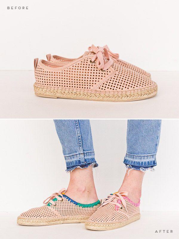 2a5b17e5ad4f 3 DIY shoe makeovers for spring. Click through for all three tutorials.   shoemakeover  diyshoes  diy  fashion  springfashion
