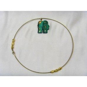 Malachite elephant choker necklace, 43cm