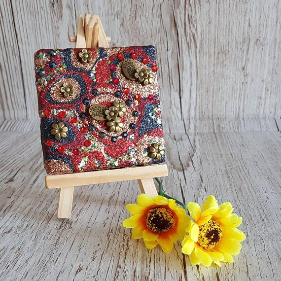 Navy Blue, Gold and Red Glitter Canvas Art Original Abstract Artwork no. 28, mini canvas with flowers, comes with easel