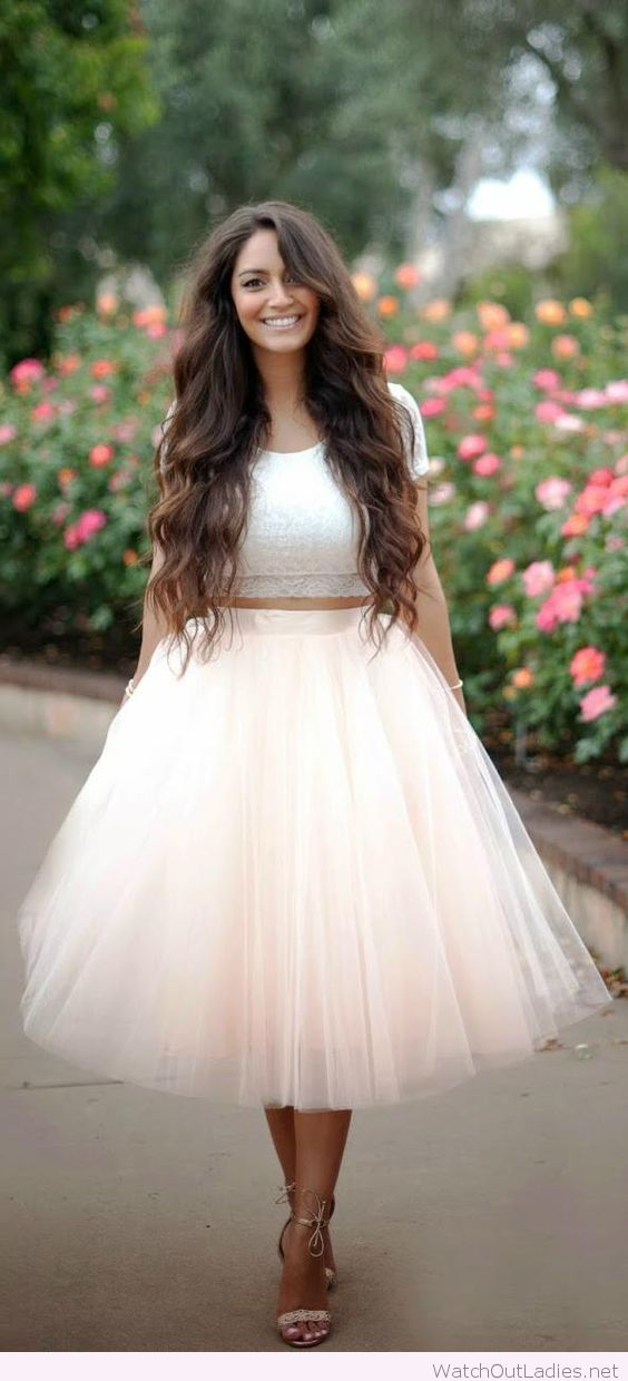 Amazing tulle skirt with a white lace crop top