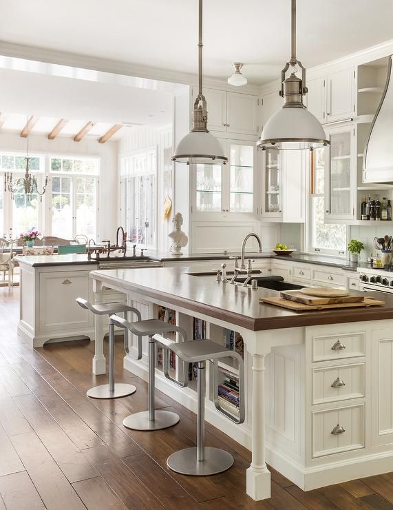 Two Large Country Industrial Pendants Illuminate A White Beadboard Kitchen Island With Turned Legs Fit Beadboard Kitchen Country Kitchen Designs Kitchen Design