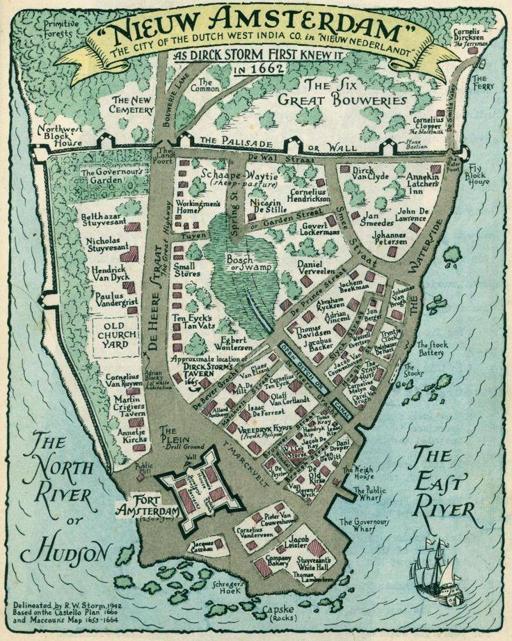 Fragment Genealogie De Warm, reconstructie van de kaart uit 1940; New Amsterdam in 1653/1665.