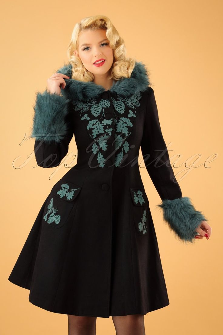 1950s Vintage Style Sherwood Coat in Black and Teal