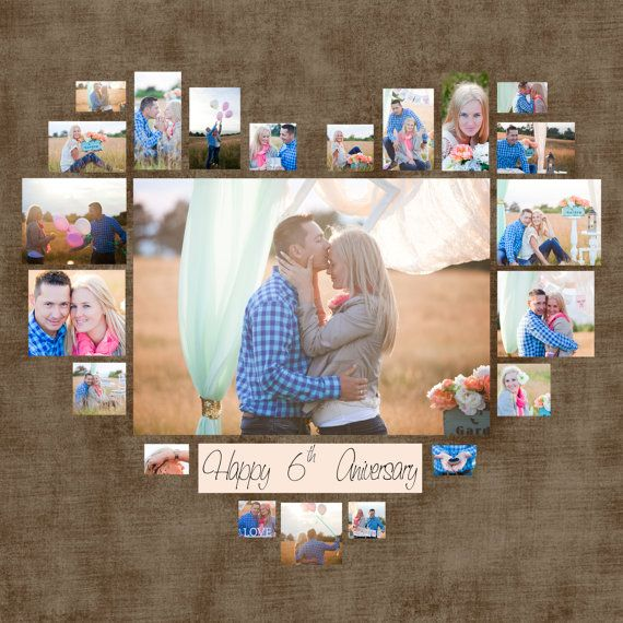 4 Diferent Heart Photo Collage Template PSD. Valentine's day Gift. Gift for her…