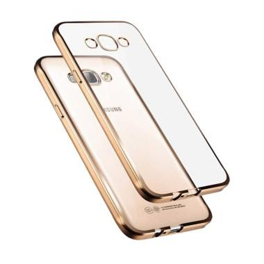case jelly transparan shiny chrome list softcase casing for samsung galaxy v g313 - gold