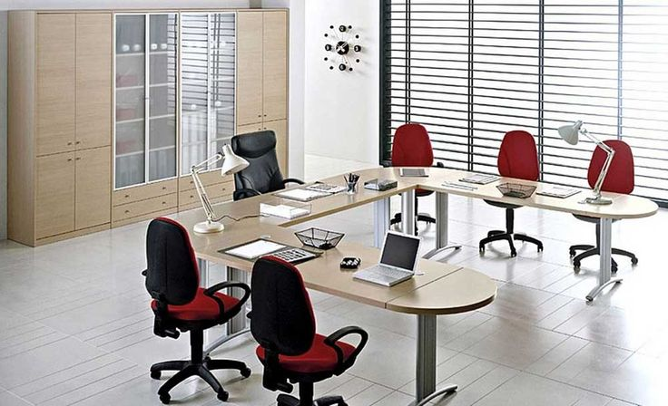 Simple Interior Design of Office with red fabric seat cream laminated wooden and shaped meeting table white ceramic floor
