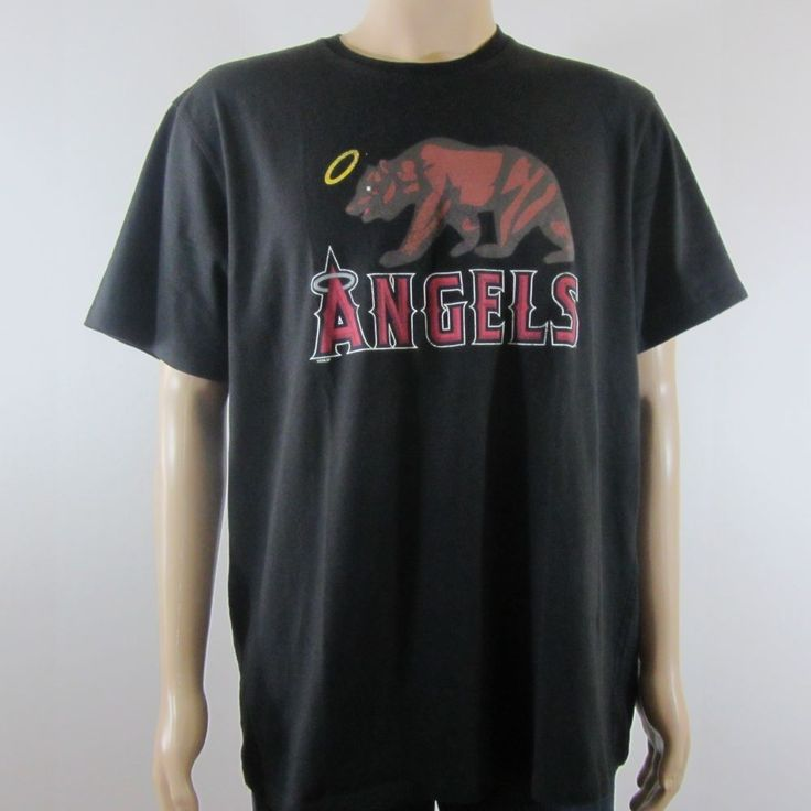 '47 Los Angeles Angels Bear Graphic Print Casual T Shirt Black XXL #47 #GraphicTee